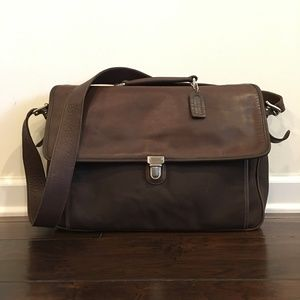 Coach Brown Nylon/Leather Briefcase Bag - Size M